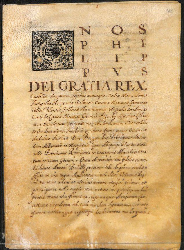 Imagen: Real despacho en pergamino en que se otorga la escribanía de Valencia a Antoni Bañuls, documento de 1649
