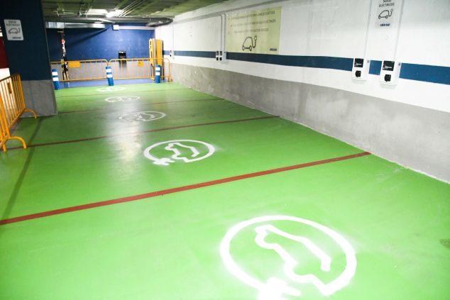 Imagen: Zona de carga para vehículos eléctricos