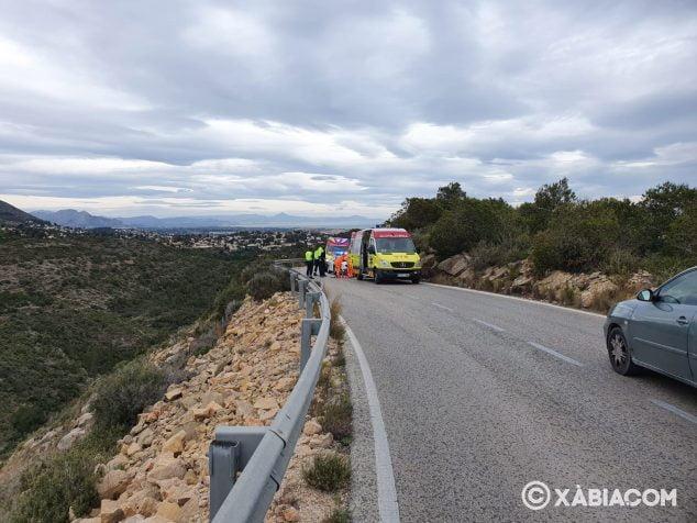 Imatge: Accident d'un motorista a la carretera de les planes