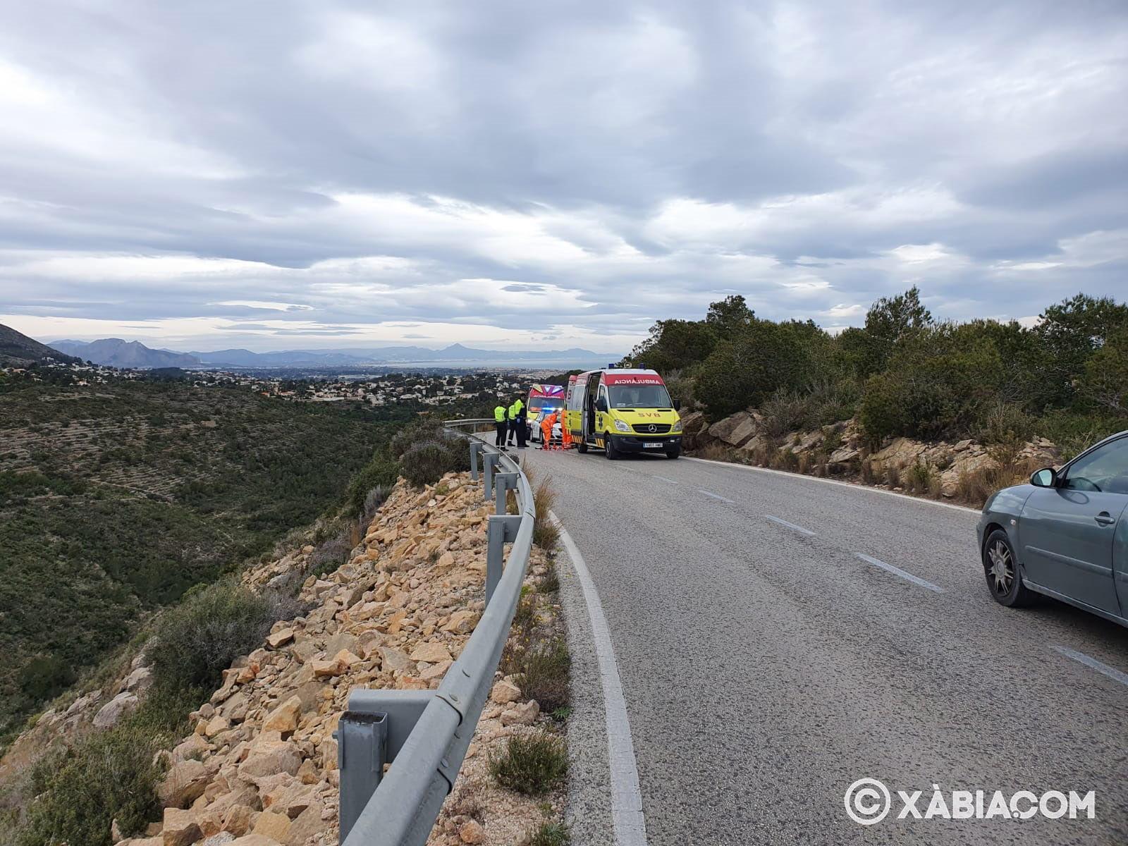 Accidente de un motorista en la carretera de las planas