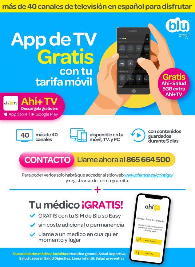 Afbeelding: app-promotie 'Ahi + TV' en 'Ahi + Salud' - Blu