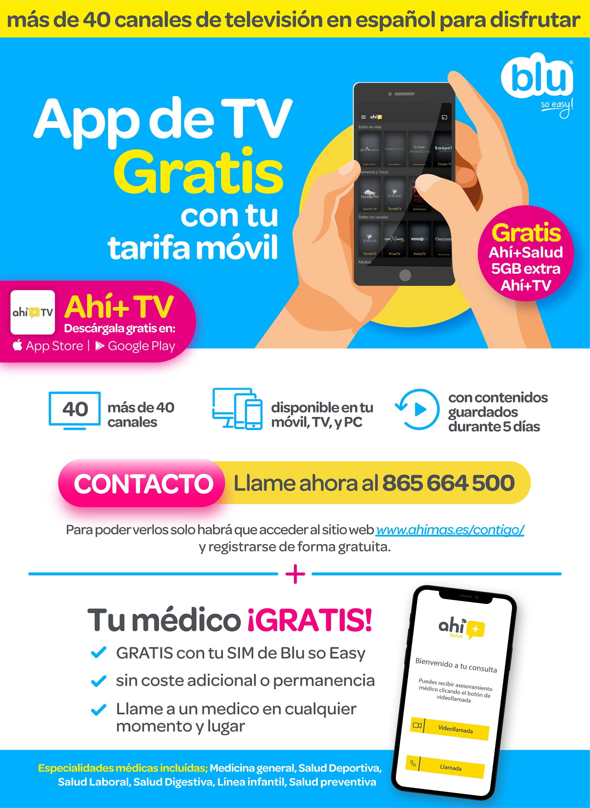 App promozionale 'Ahi + TV' e 'Ahi + Salud' - Blu