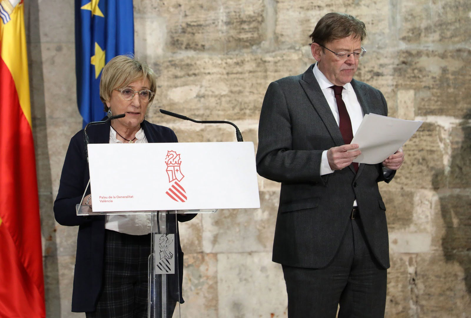 La consellera Ana Barceló en una de las comparecencias