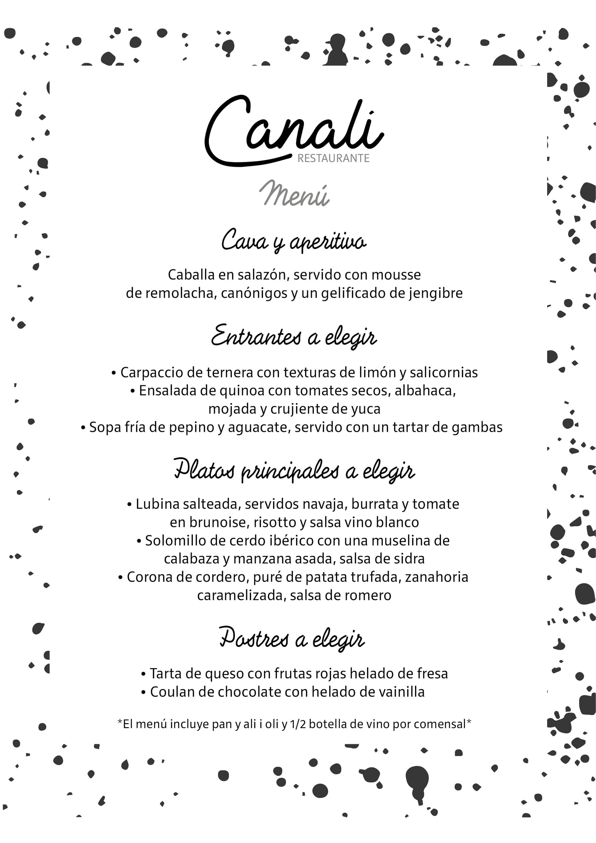 Menú en español – Restaurante Canali