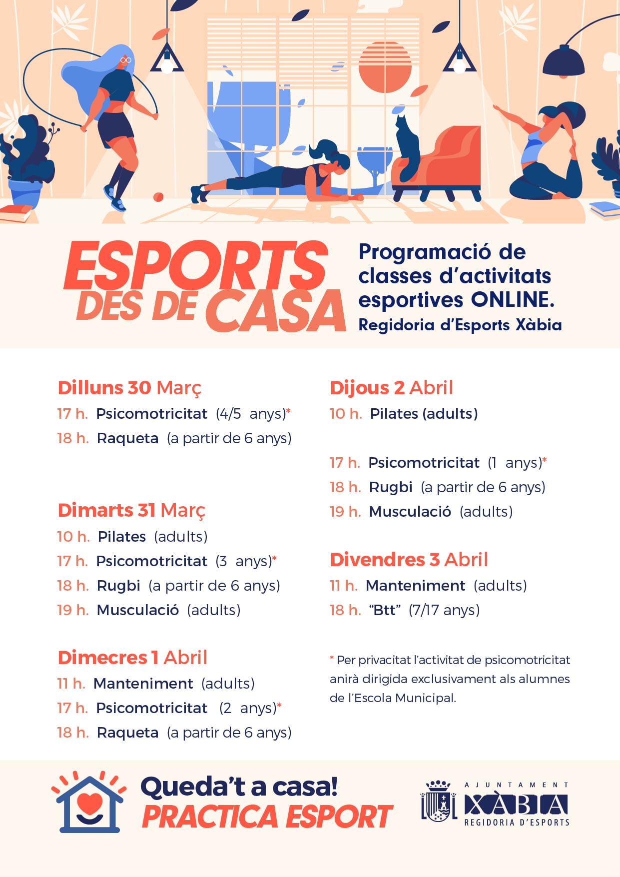 Programación de clases deportivas online