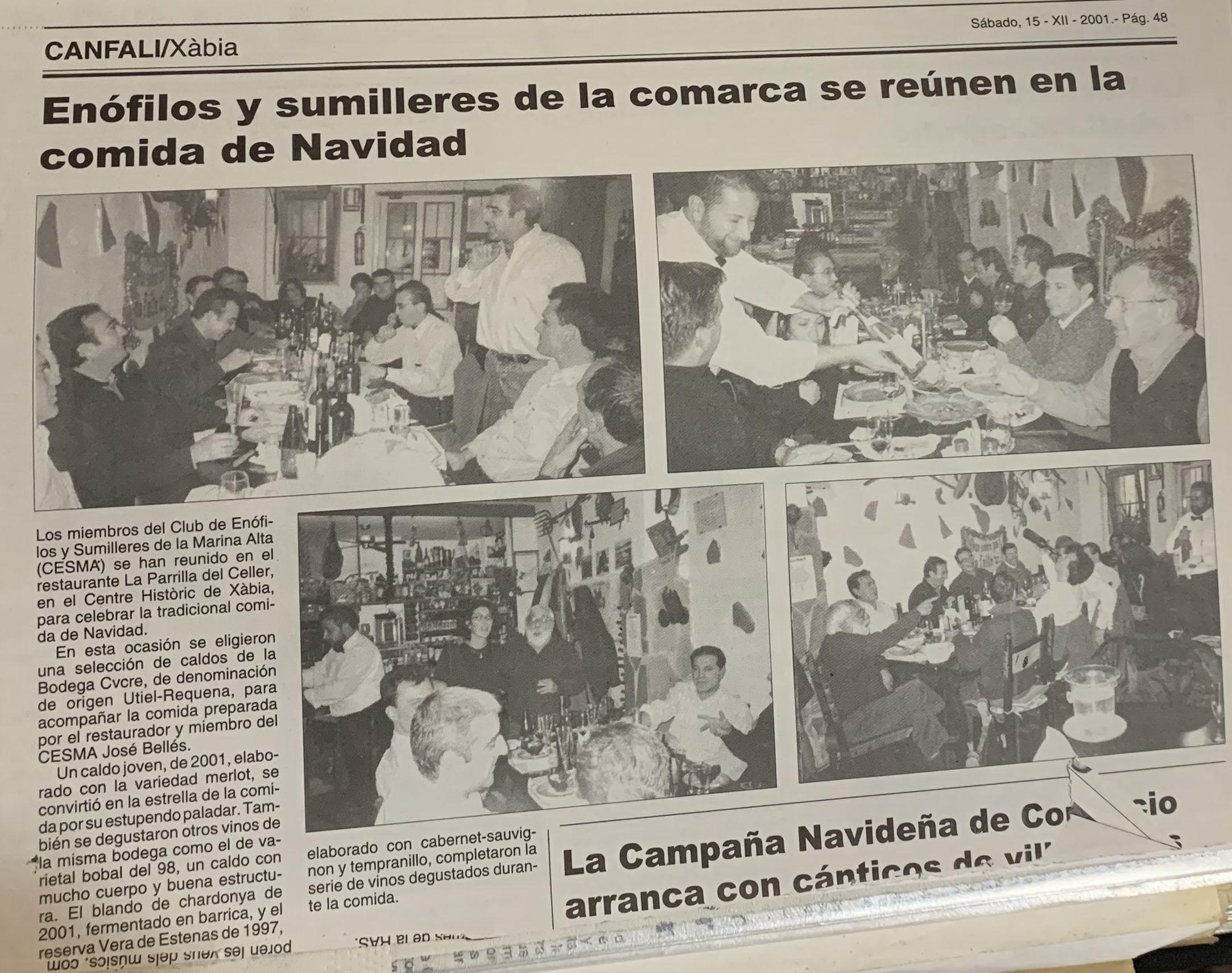 Publicación del años 2004 sobre las catas de La Parrilla del Celler