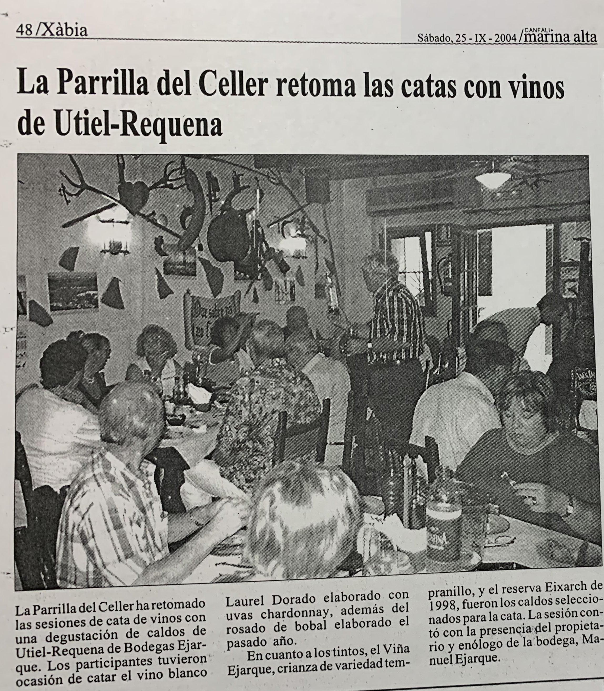 Recorte de prensa comarcal sobre la Cata de la Parrilla en 2004