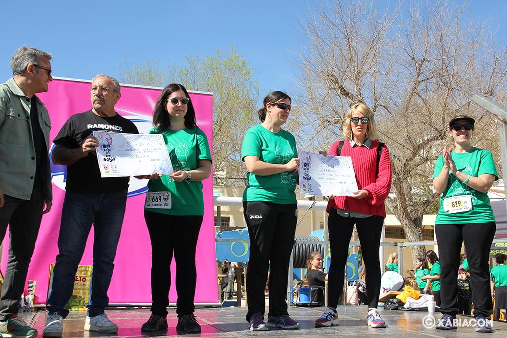 Representantes de ADIMA y CARENA recogiendo el cheque solidario