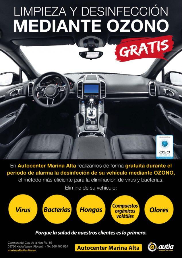 Imagen: Cartel anunciador de desinfección gratuita - Autocenter