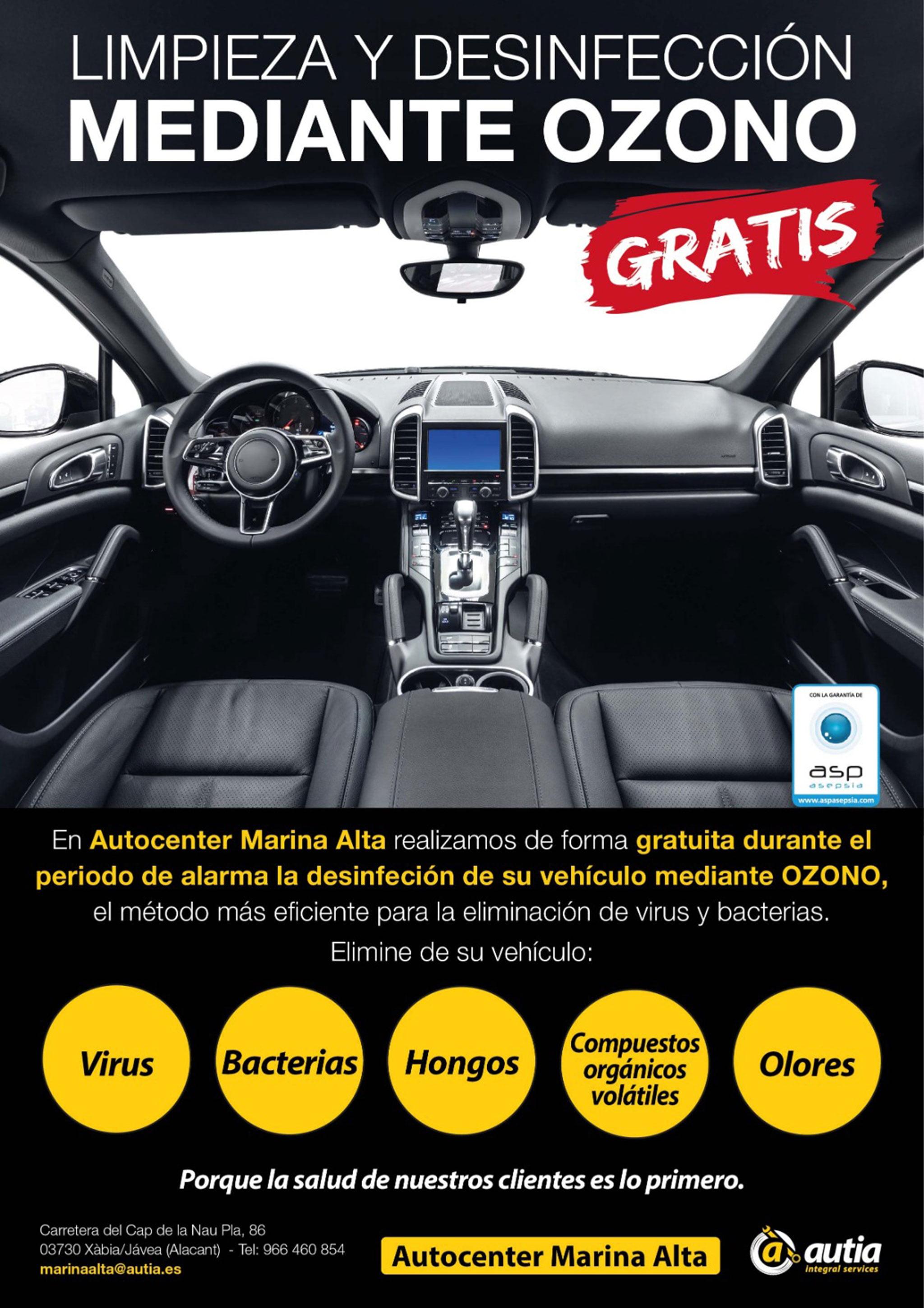 Cartel anunciador de desinfección gratuita – Autocenter