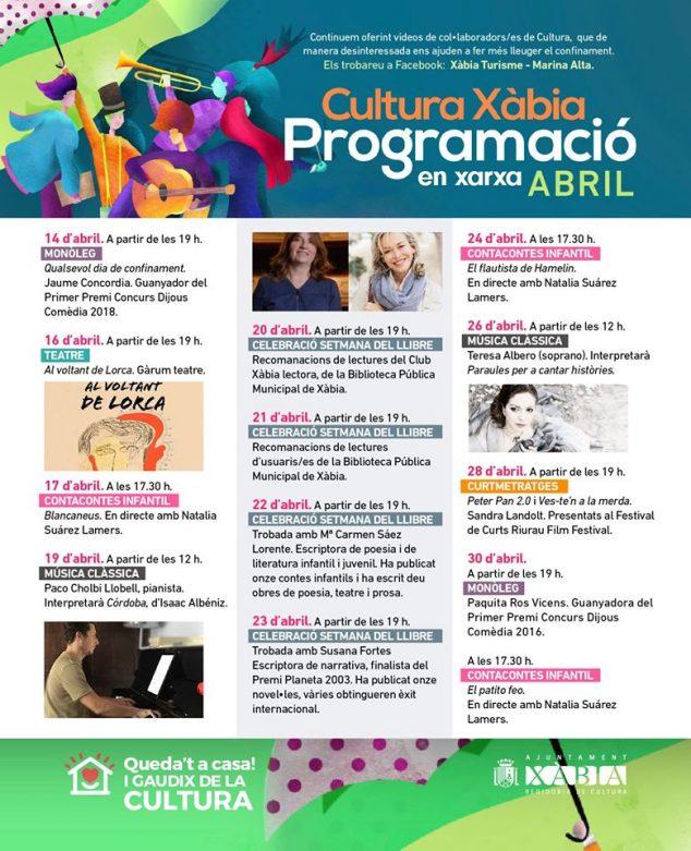 Imagen: Programación cultural de abril Xàbia
