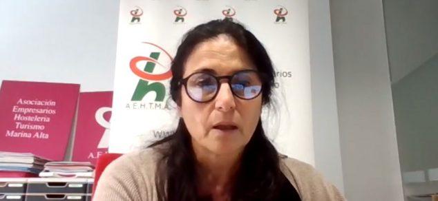 Imatge: La secretària general de AEHTMA, Reme Cerdà, en compareixença telemàtica