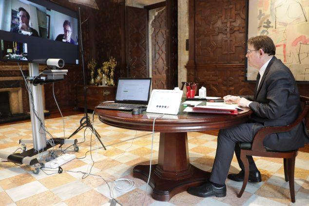 Imatge: Ximo Puig en videoconferència