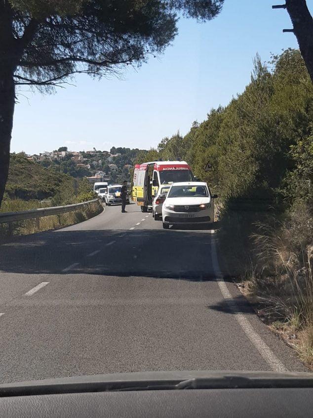 Imatge: Accident a la carretera de les Planes Dénia-Xàbia