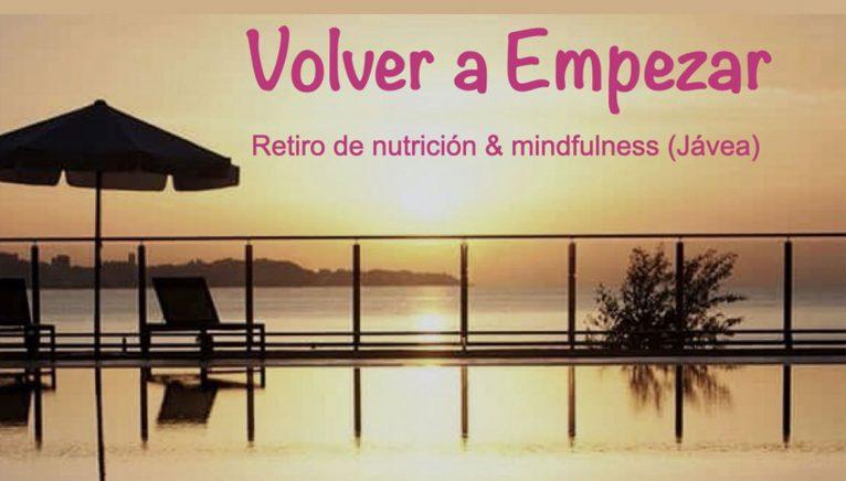 Cartel anunciador de retiros de nutrición y mindfulness en Jávea