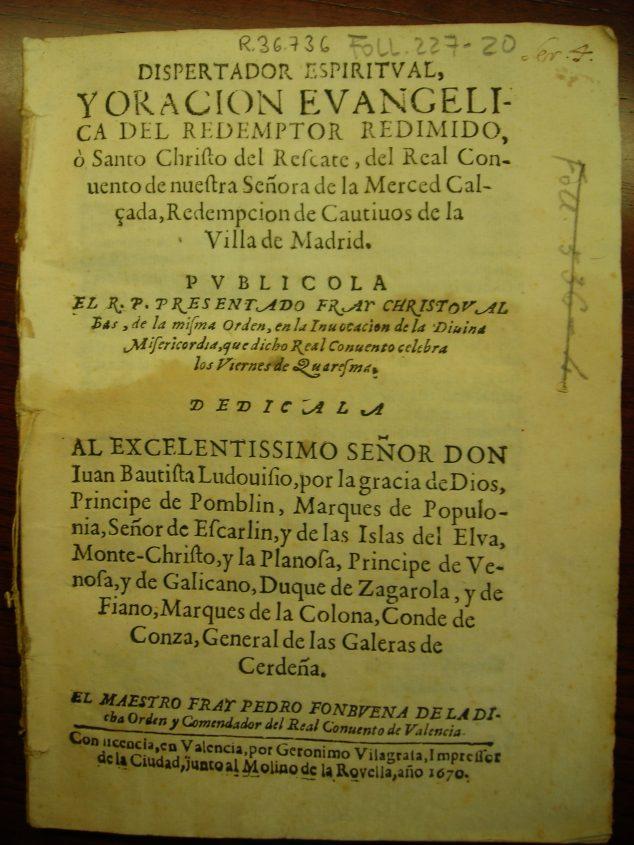 Imatge: Escrit en el qual apareix el nom de Fra Cristóbal Bas