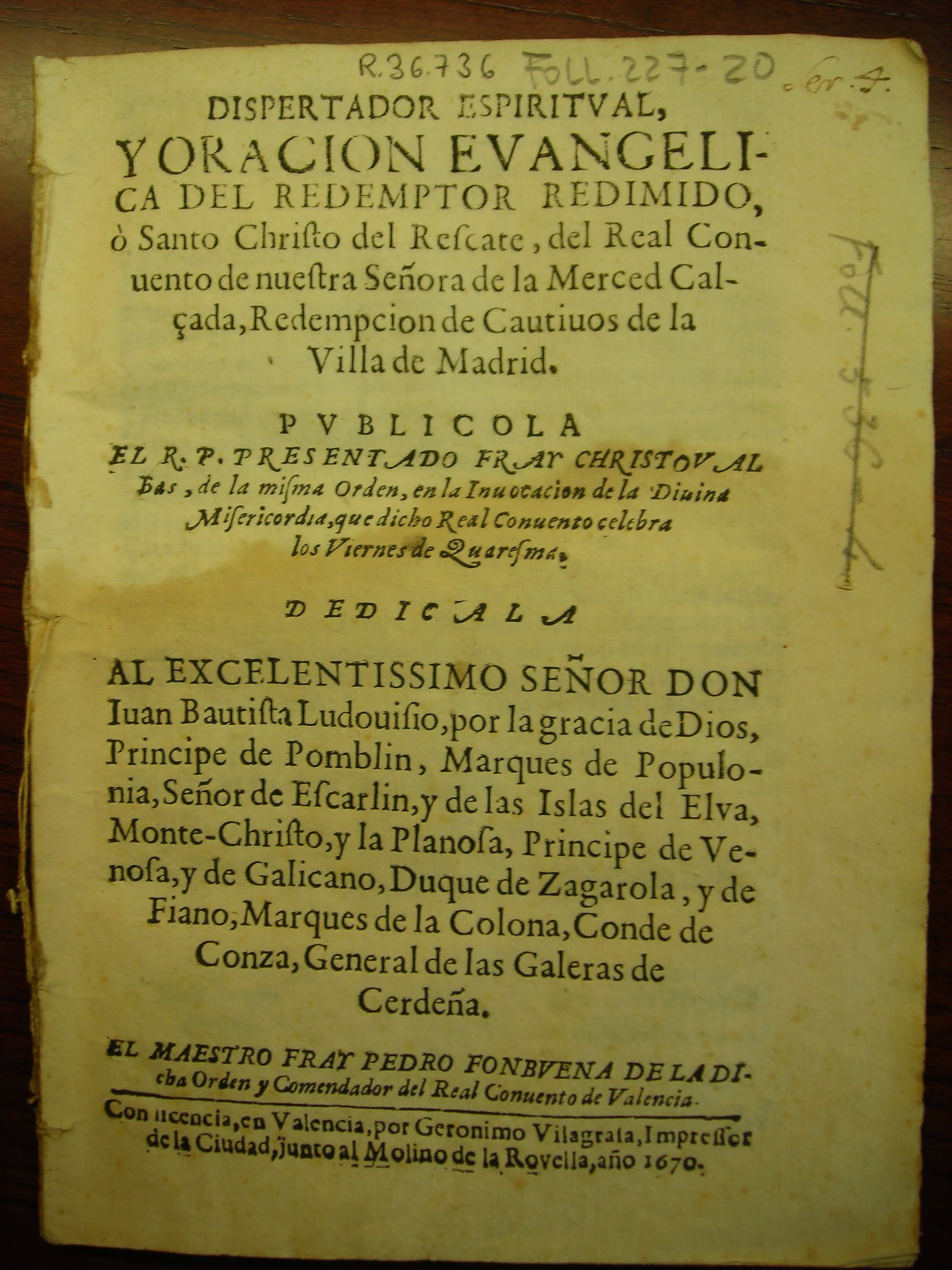 Escrito en el que aparece el nombre de Fray Cristóbal Bas