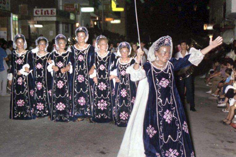 Escuadra femenina de la Filà Trabuquers en 1986