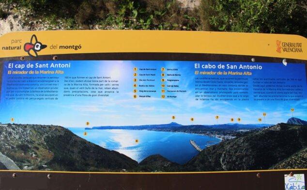 Imagen: Panel con los puntos clave que se ven desde el mirador del Cabo de San Antonio de Jávea