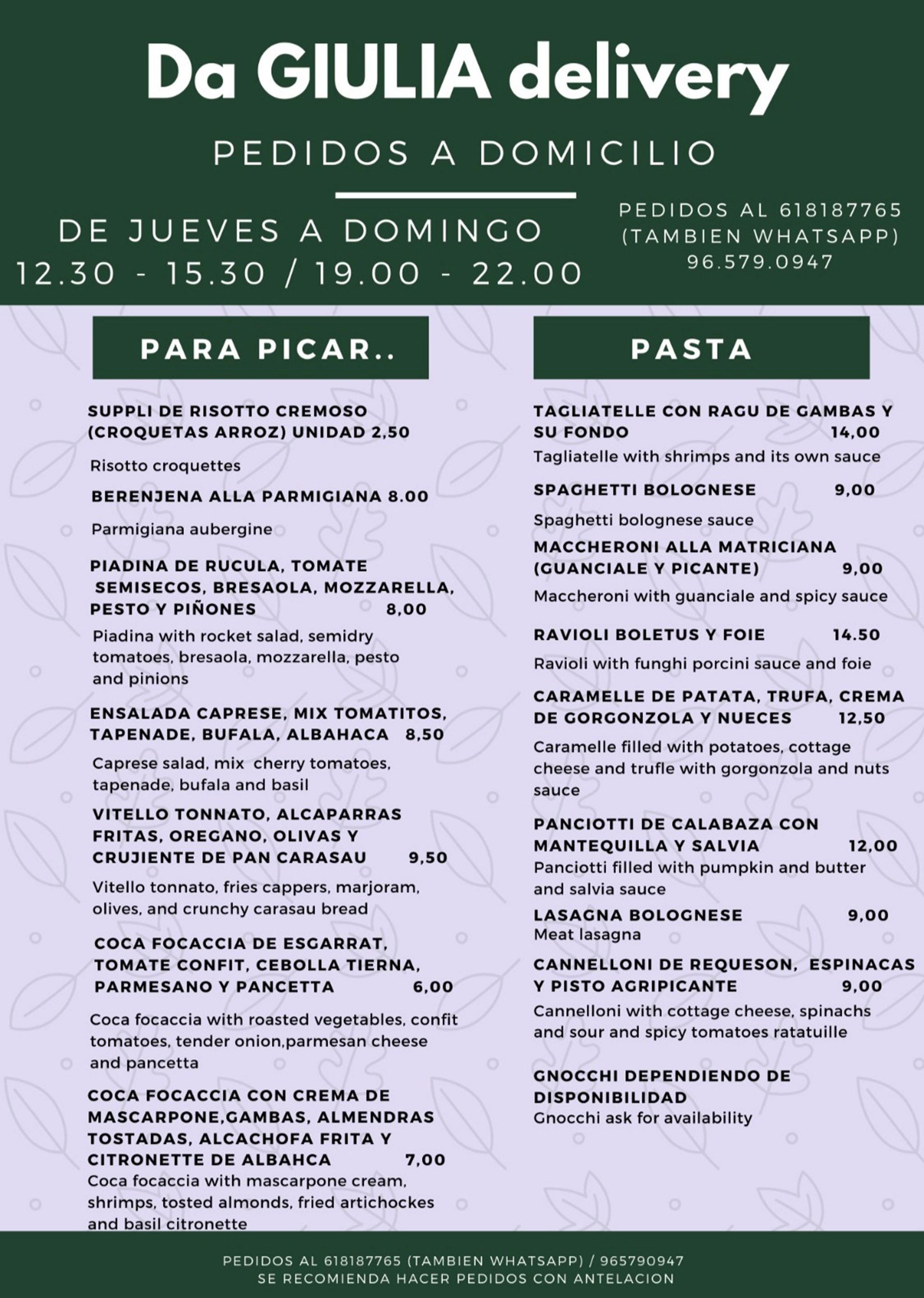 Cosas para picar y pasta a domicilio en Xàbia – Restaurante Da Giulia