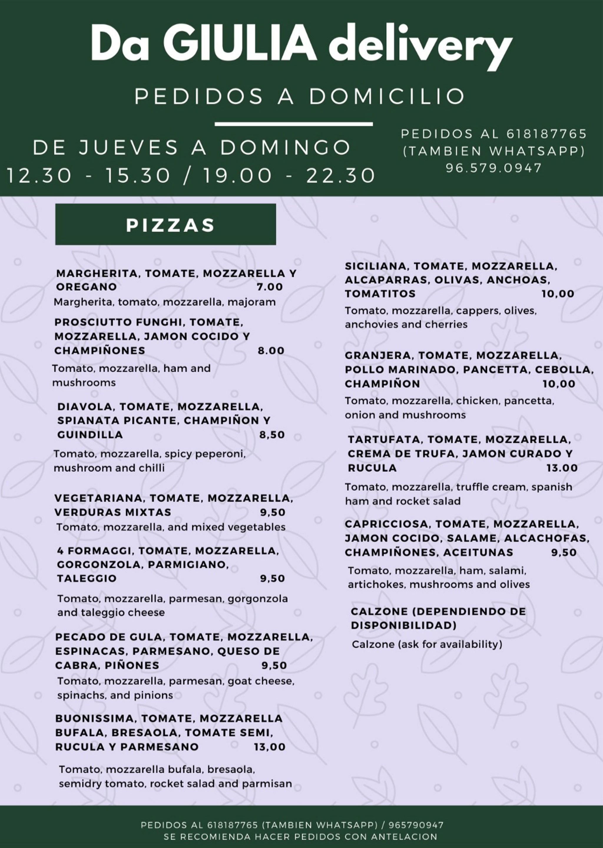 Pide una pizza a domicilio – Restaurante Da Giulia