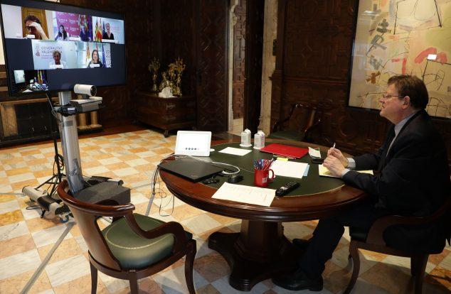 Imagen: President de la Generalitat en videoconferencia