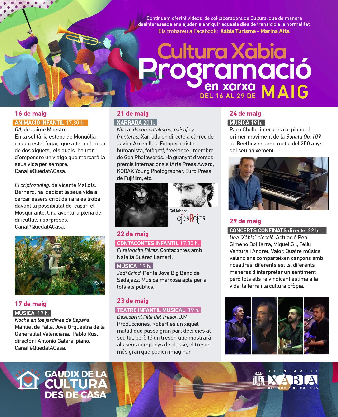 Programacio en xarxa DEL 16 AL 29 DE MAIG 2020 Cultura Xabia