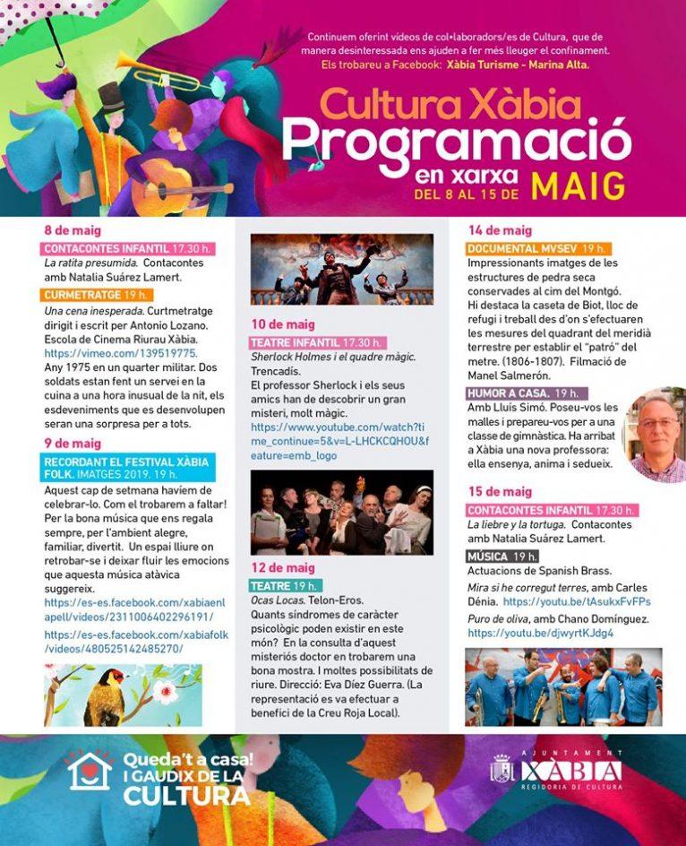 Programación cultural en red de mayo en Xàbia