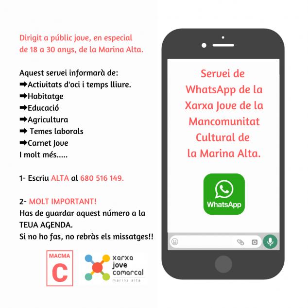 Imagen: Servicio Whatsapp Xarxa Jove