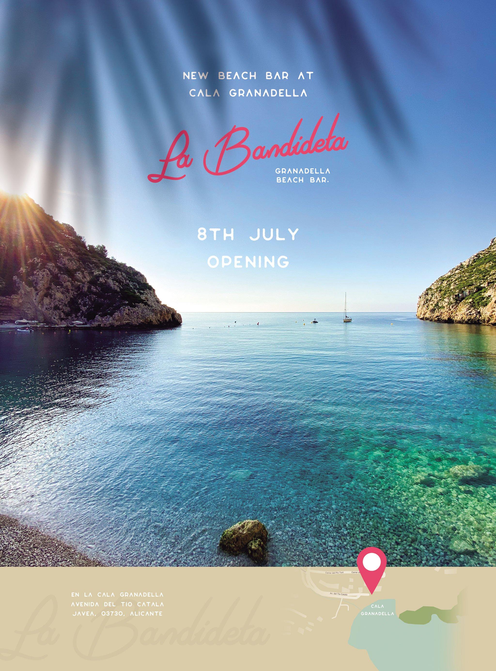 Cartel anunciador de la apertura de La Bandideta