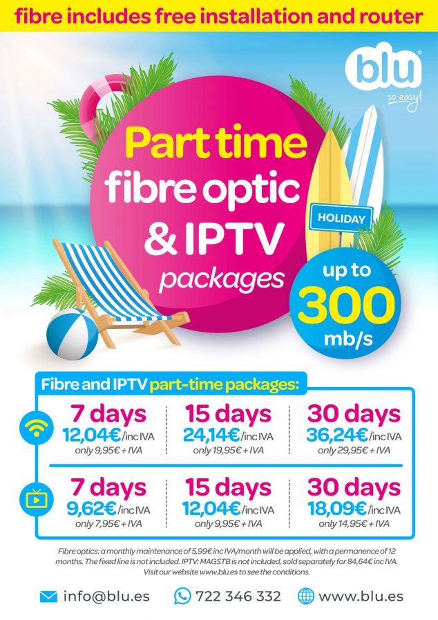 Imagen: Cartel informativo en inglés sobre los nuevos paquetes de fibra óptica a tiempo parcial - Blu