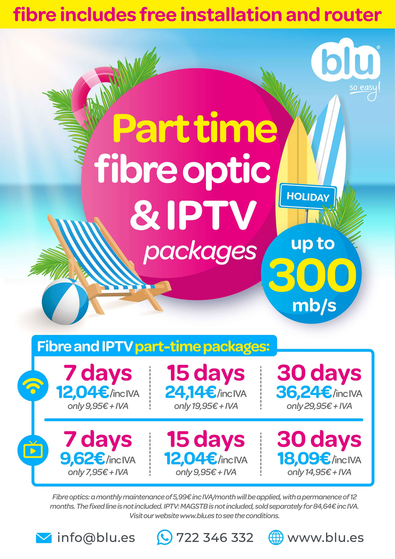 Cartel informativo en inglés sobre los nuevos paquetes de fibra óptica a tiempo parcial – Blu