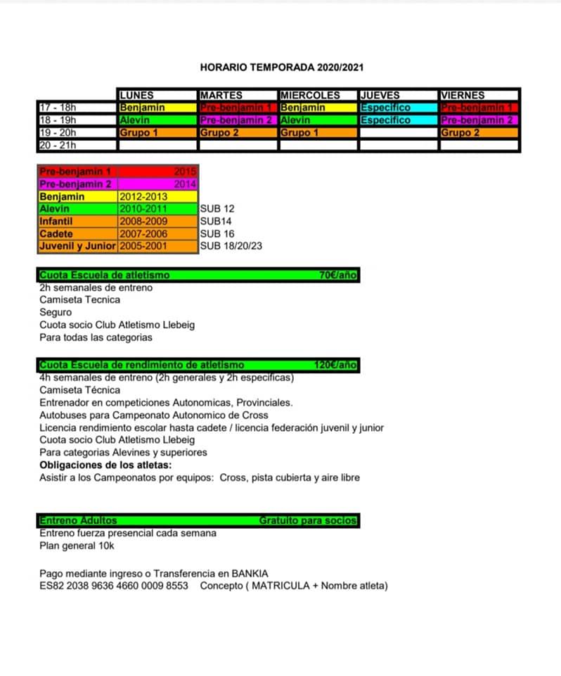 Horarios de la escuela de atletismo para la temporada 20-21