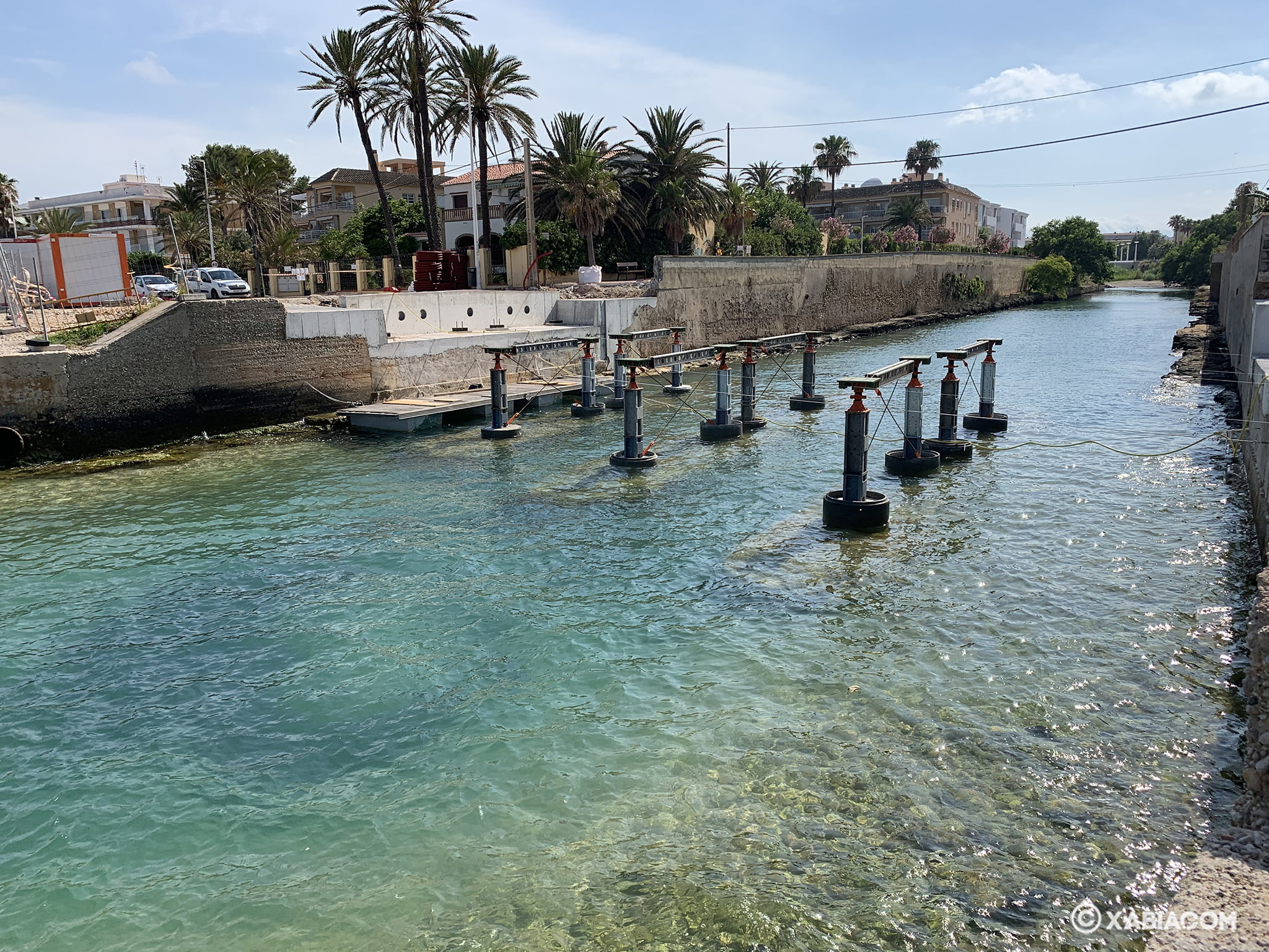 Obras construcción del Puente de Triana