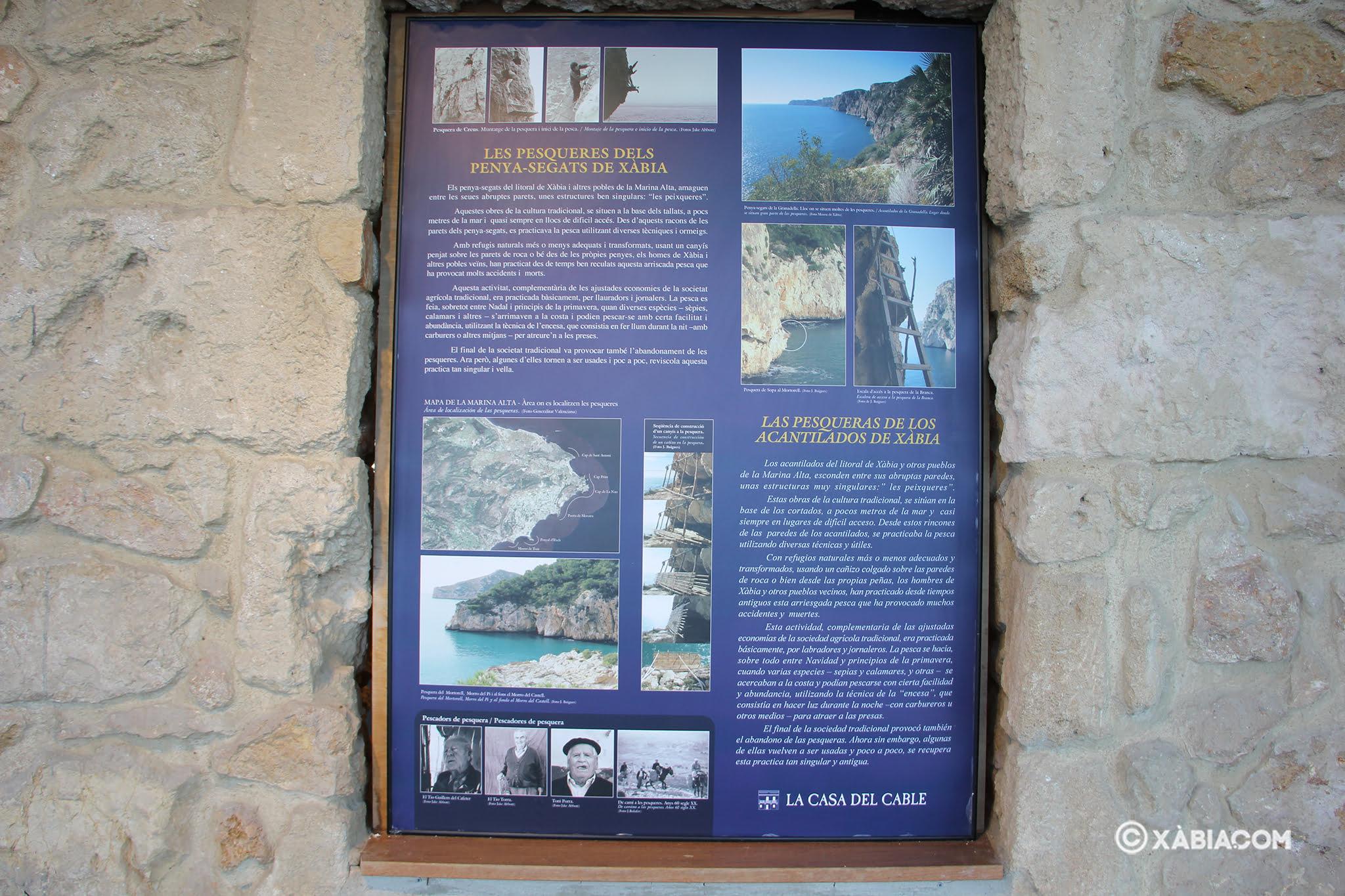Panel informativo sobre la historia de Les Pesqueres de Xàbia