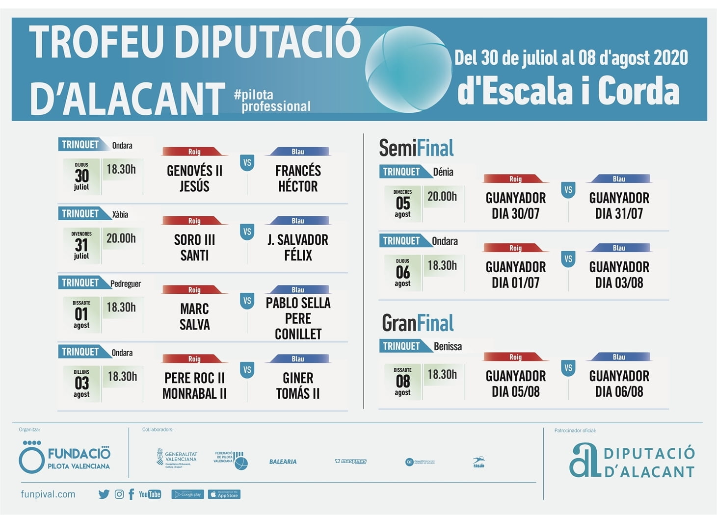 Cartel de Partidas del Trofeu Diputació d'Alacant