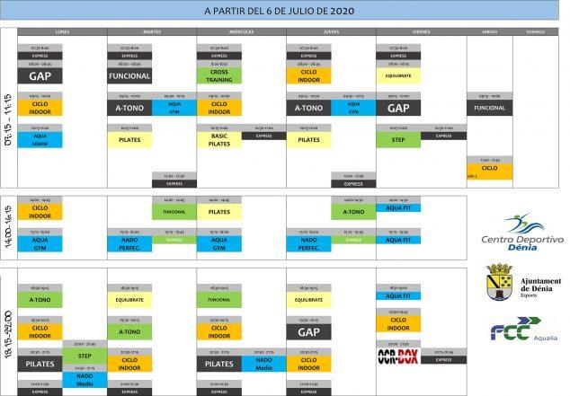 Imagen: Horario de actividades de julio en Centro Deportivo Dénia