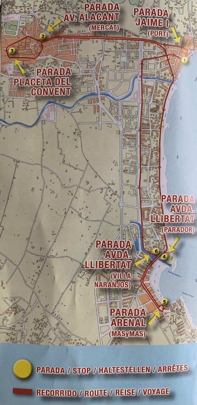 Imagen: Itinerario del Tren Turístico de Xàbia