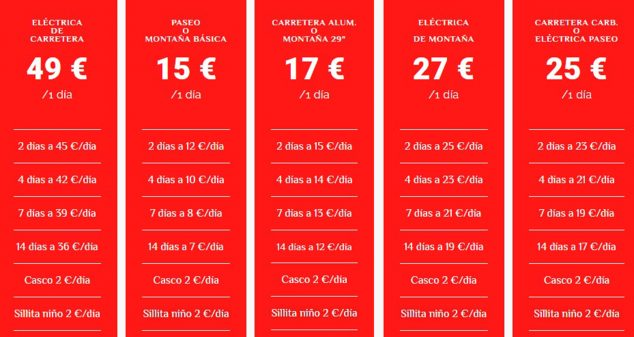 Imagen: Lista de precios de las bicis en alquiler - Xabia's Bike