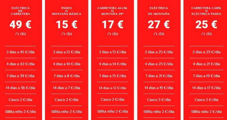 Lista de precios de las bicis en alquiler - Xabia's Bike