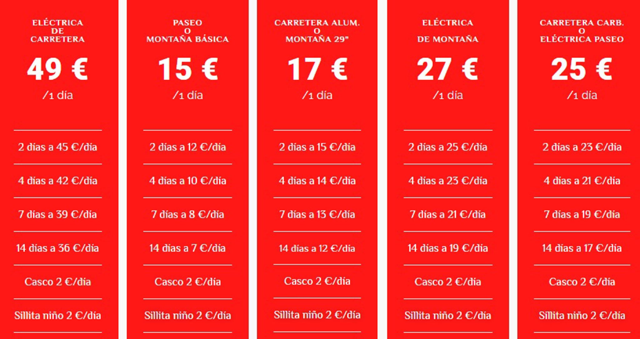 Lista de precios de las bicis en alquiler – Xabia's Bike