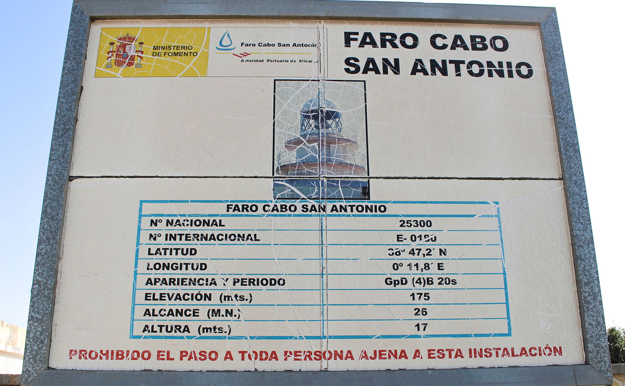 Panel informativo con datos técnicos del faro del Cap de Sant Antoni de Xàbia