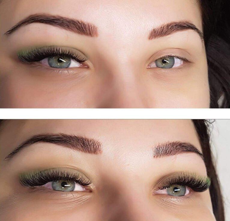 Estensioni delle ciglia prima e dopo i capelli - Centro Estetico ONIX