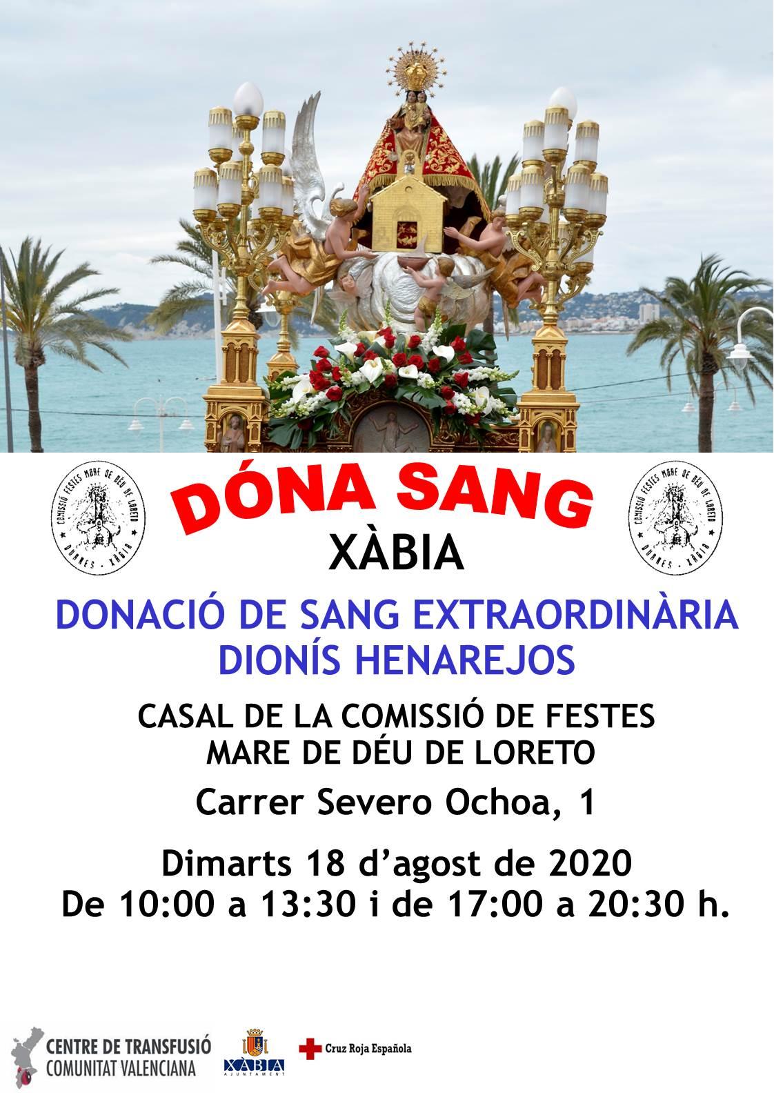 Cartel Donación de Sangre Extraordinaria Mare de Déu de Loreto 2020