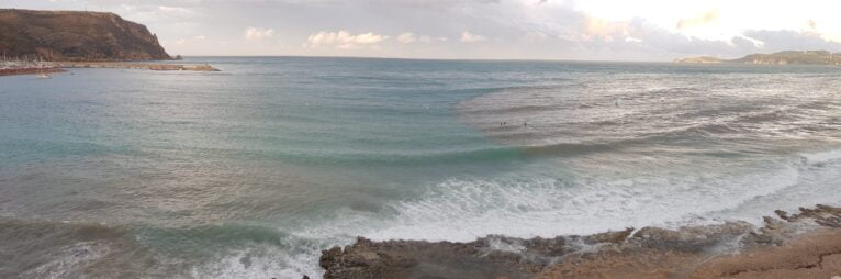 Playa de la Grava tras la lluvia