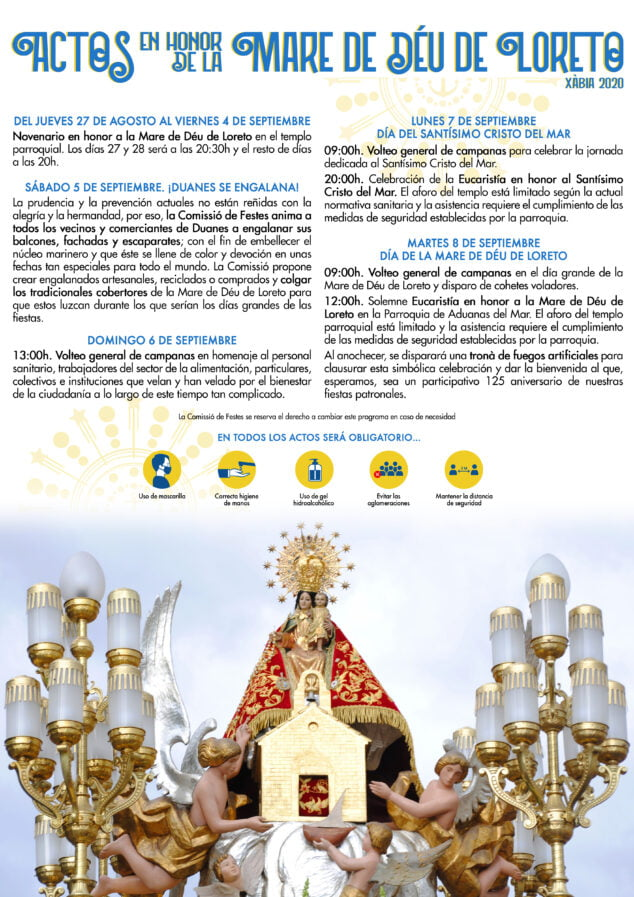 Imagen: Programa Actos en honor a la Mare de Déu de Loreto 2020