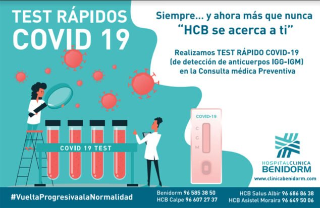 Imagen: Si tienes dudas, realízate un test rápido COVID-19 en Hospital Clínica Benidorm (HCB)