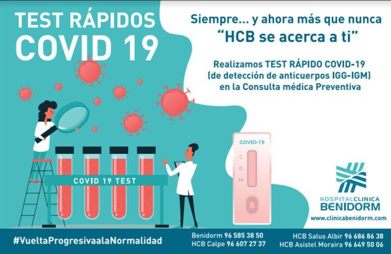 Si tienes dudas, realízate un test rápido COVID-19 en Hospital Clínica Benidorm (HCB)