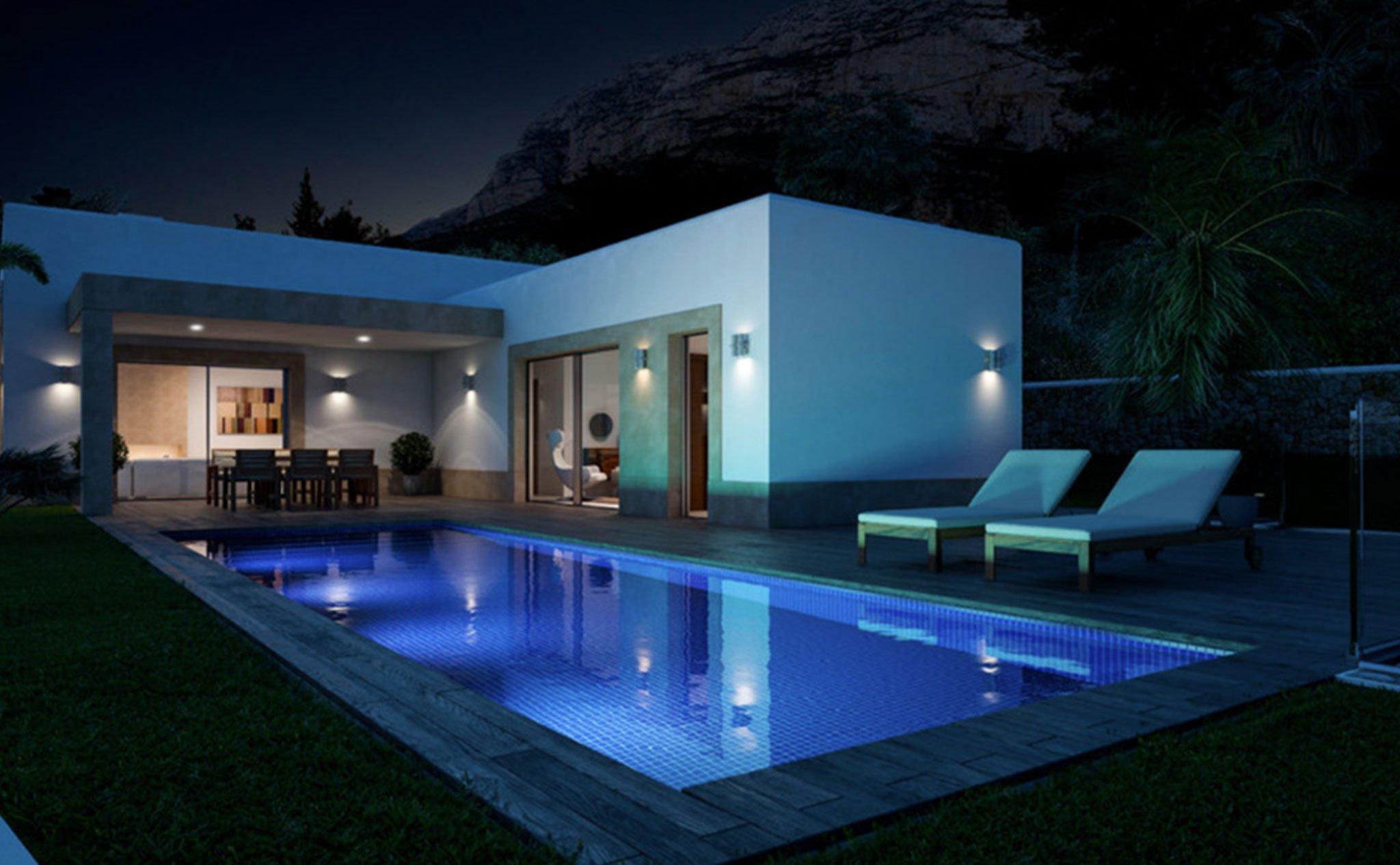 Vista nocturna de una vivienda diseñada por Lucas Graf Projects, 'Casa Diana'