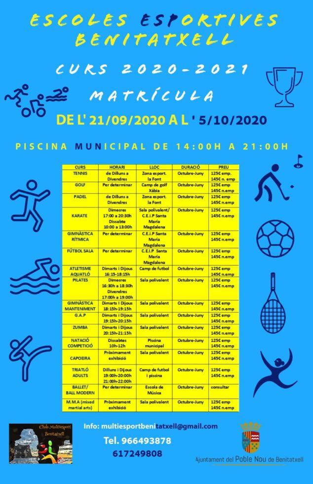 Imagen: Información sobre la matrícula de actividades deportivas